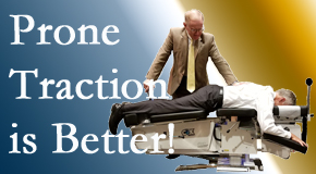 Carrolltown spinal traction applied lying face down – prone – is best according to the latest research. Visit Gormish Chiropractic & Rehabilitation.