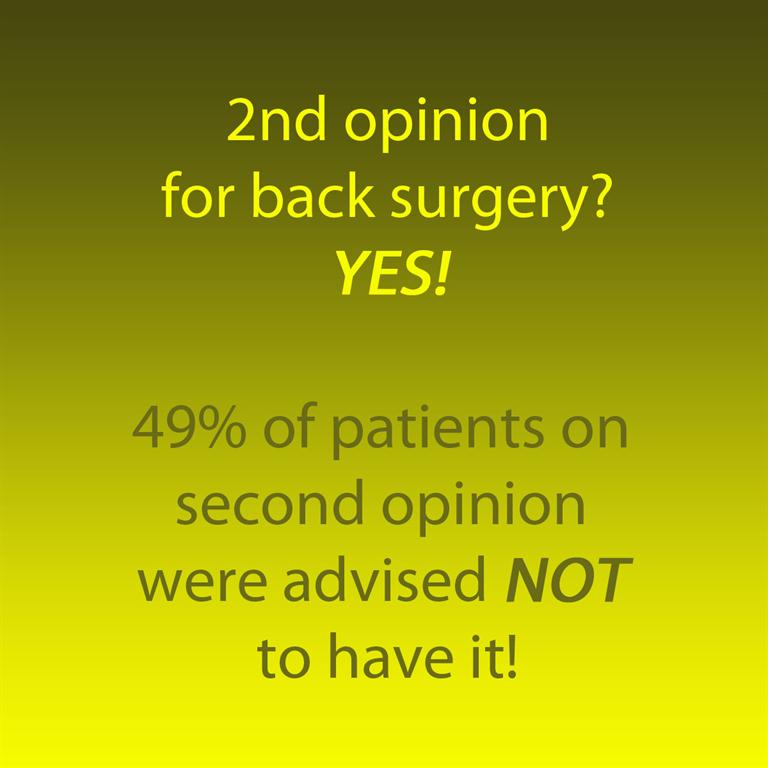 Picture on getting a second opinion on back surgery prior to having it