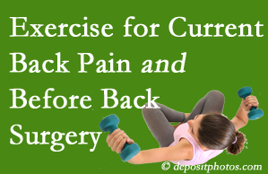 Carrolltown exercise benefits patients with non-specific back pain and pre-back surgery patients though it's not often prescribed as much as opioids.