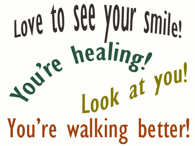 Use positive words to support your Carrolltown loved one as he/she gets chiropractic care for relief.