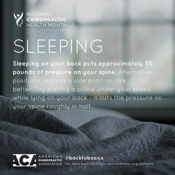 Gormish Chiropractic & Rehabilitation recommends putting a pillow under your knees when sleeping on your back.